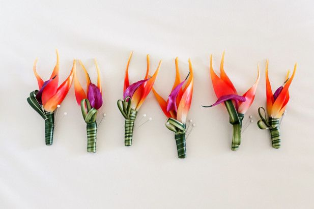 Tropical wedding boutonnieres (Photo by Fine Art Studio Photography)