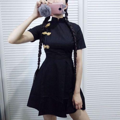 Cheongsam-Etuikleid-Mini-Kleid-Lolita-Chinesisch-Gothik-Vintage-Antik-QiPao-Mode