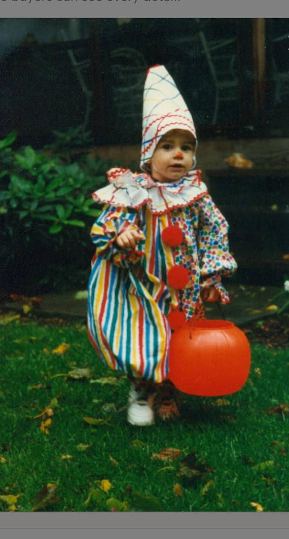 I am sharing with you a picture of my children from 20 years ago when I sewed exclusively for them. I would love to bring back the memories of this clown costume and make it for your child. The fabrics used will be the ones pictured in the second photograph.