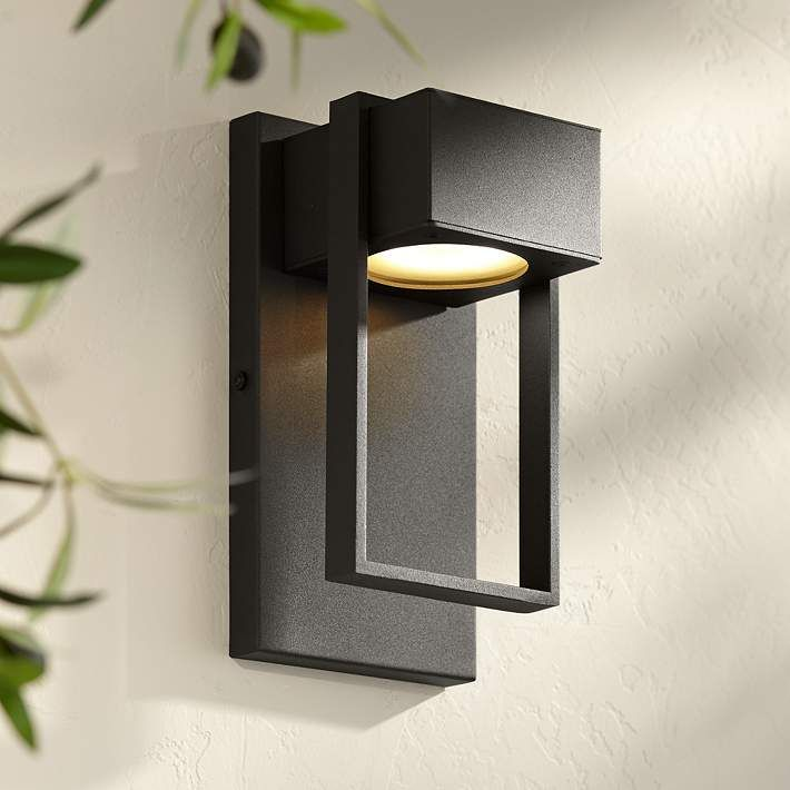 Pavel 9 1 2 High Textured Black Led Outdoor Wall Light 42f29 Lamps Plus Led Outdoor Wall Lights Modern Exterior Lighting Outdoor Wall Light Fixtures
