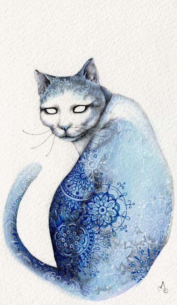 """""""Blue Cat"""" Artwork by Alice Savage. Ink on Fabriano paper"""