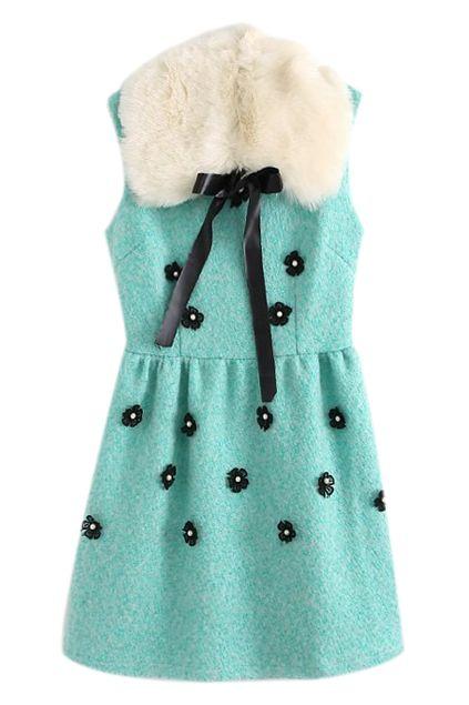 取り外し可能な毛皮の襟袖なし青いドレス ¥3,799