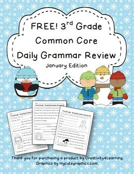 FREE Third Grade Common Core Daily Grammar Review - Januar