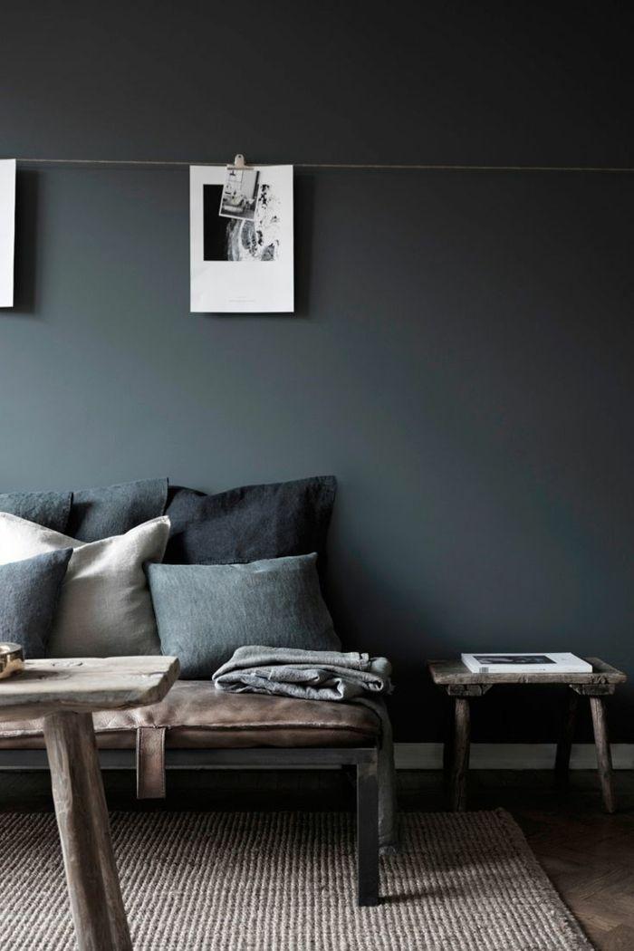 wirkungsvolle einrichtungsideen für wandgestaltung mit dunklen farben ...