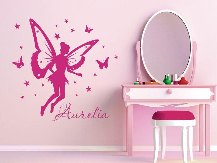 Cool Sch ne Elfe mit Wunschname als Dekoration f r die Wand im Kinderzimmer In vielen bunten Farben