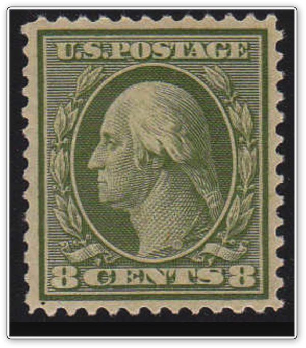 George Washington's profile is depicted in this 1908 U.S. #stamps