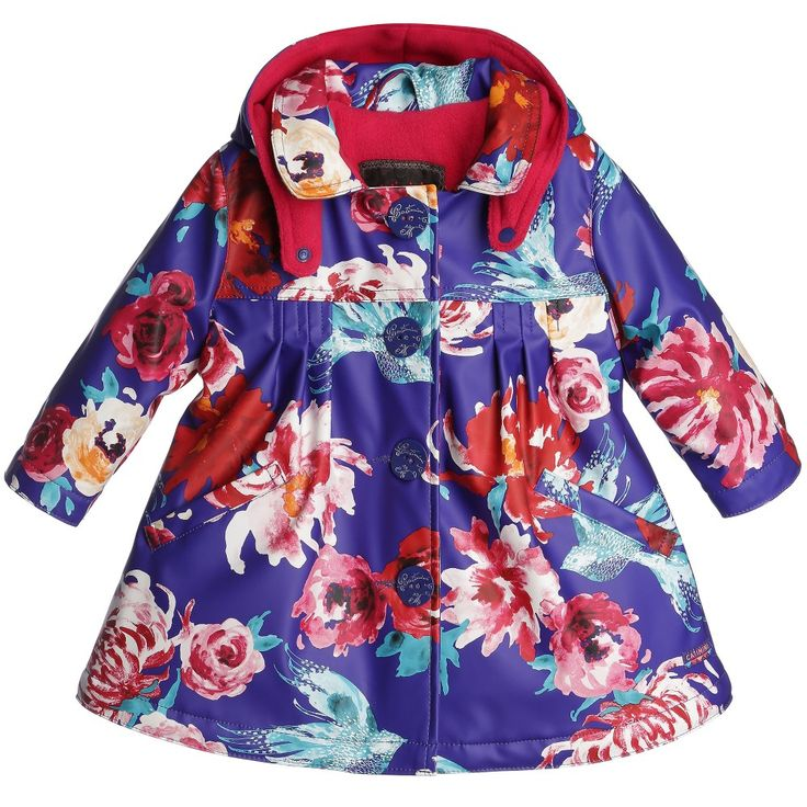 Catimini Blue Floral Raincoat with Hood at Childrensalon.com