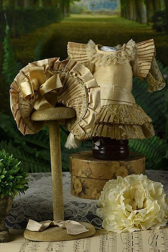 "Gorgeous Dress & Bonnet for 11-12"" Bru, Jumeau  #unitedsellers"