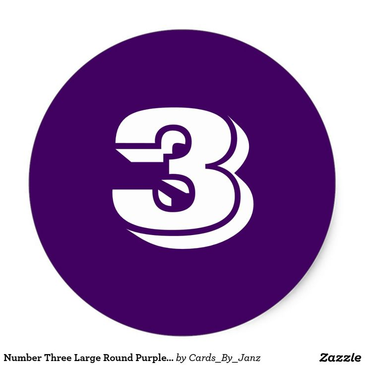 Number three large round purple stickers by janz