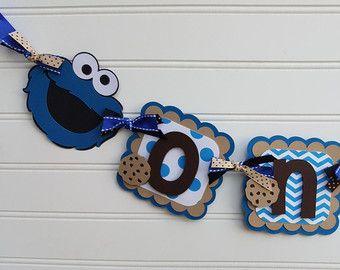 UNA bandera de la bandera, alta silla, Sesame Street, Cookie Monster foto banner, banner Elmo, Cookie Monster decoraciones. Banner de feliz cumpleaños