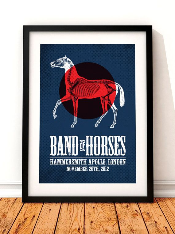 Band of Horses concert poster gig poster art by TheIndoorType