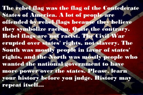 Meaning of the Confederate flag. Do you believe the confederate lives lost at Gettysburg died so they could all be superior to blacks???