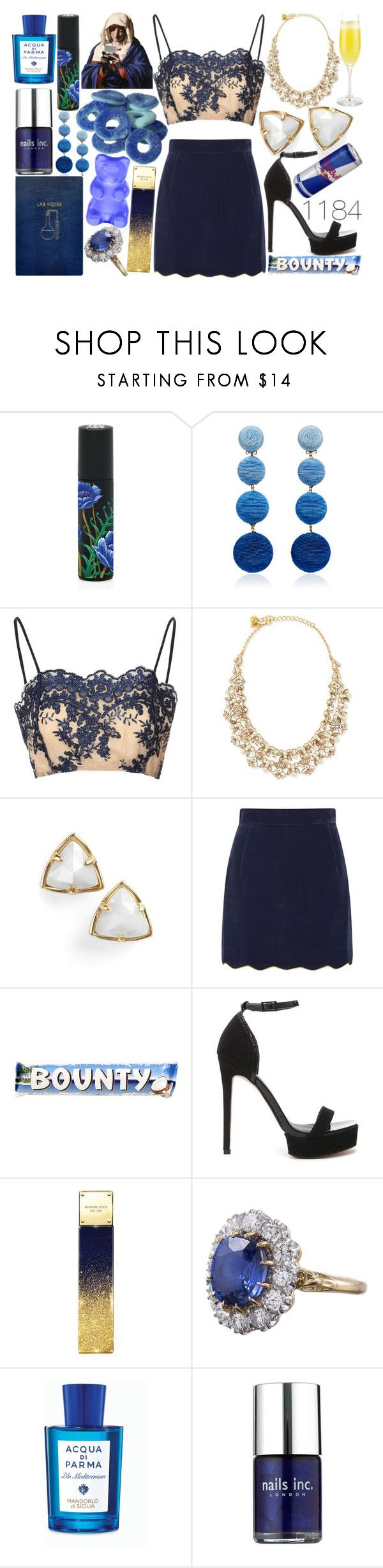 """""""Lab Notes"""" by graveclothes ❤ liked on Polyvore featuring Nest Fragrances, Rebecca de Ravenel, Glamorous, Kate Spade, Kendra Scott, House of Holland, ASOS, Michael Kors, CO and Acqua di Parma"""