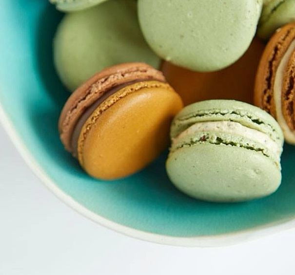 Pistachio and Chocolate Caramel macarons from J'aime Les Macarons