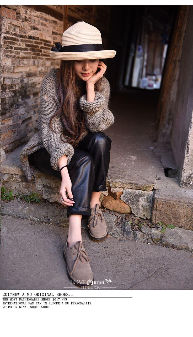 Высокое Качество Handmade Artmu Женщина Плоские Туфли, Кожа Натуральная Кожа Черный Повседневная Зашнуровать Обувь Женщина sapato feminino adulto купить на AliExpress