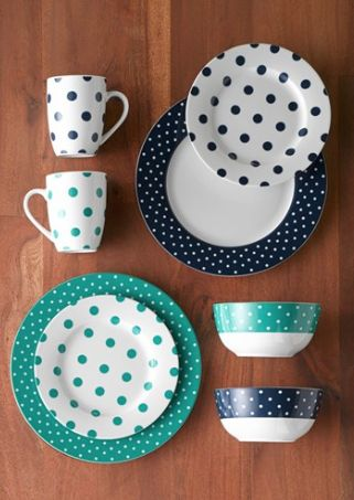 pretty polka dot dinnerware set //rstyle.me/n/mwhc2pdpe & 147 best Dinnerware images on Pinterest | Dish sets Casual ...
