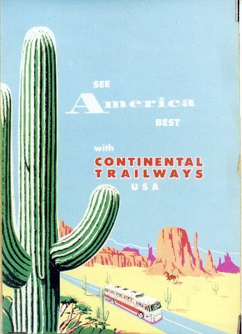 See America best with Continental Trailways USA - 1956 vintage poster