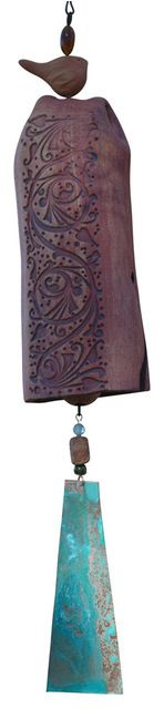 Clay Wind Chime Garden Bell w/Vine Trellis Pattern, Patina Copper w/bird Accent contemporary-wind-chimes