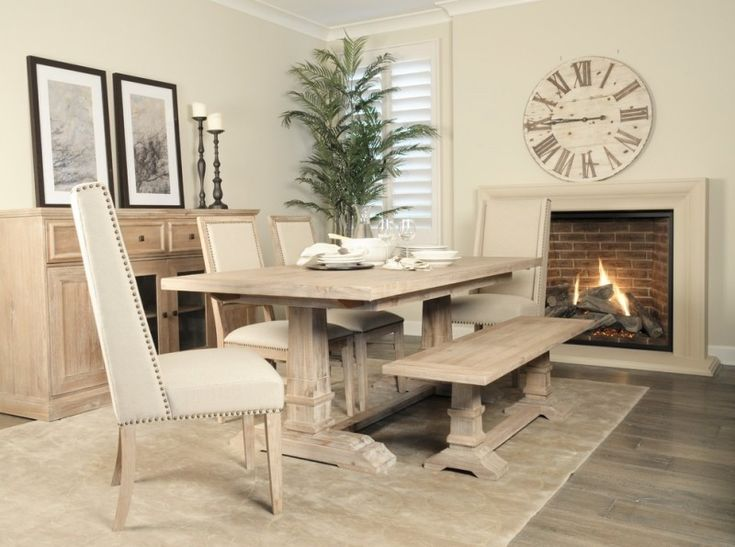 Dining Set With White Leathered Chairs, Light Wooden Bench, Light Wooden  Table Of A