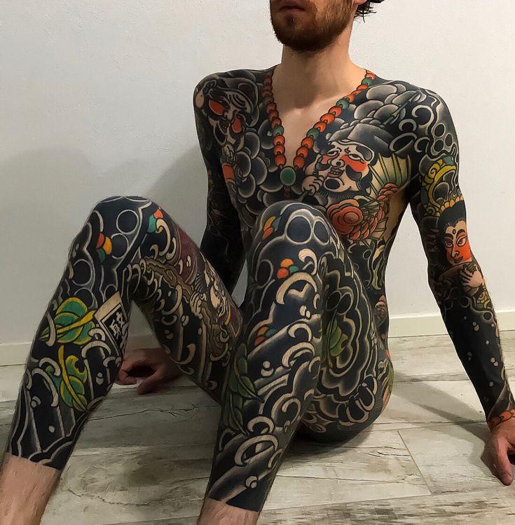 Japanese bodysuit tattoo by @koji_ichimaru. Swipe to the aspect to see all three picture…