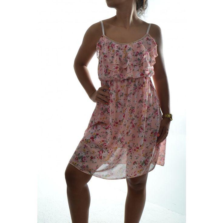 Dámske šaty s kvietkami na ramienka - ružové