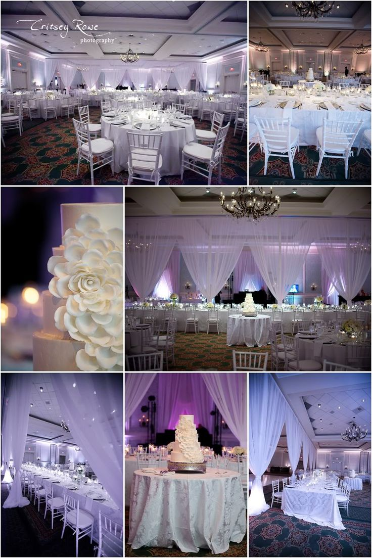 all white wedding reception lighting and draping