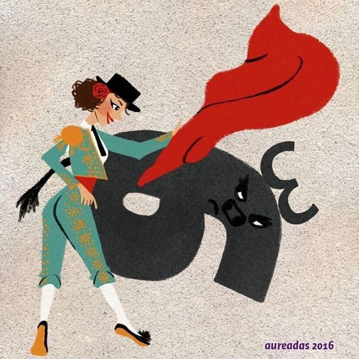 Yo y BULO #happybirthday to me 37🎂, by by 36. Me he toreado los 36 muy elegantemente. El recuerdo que me queda son mis primeras arrugas gestuales,  unas varices internas que duelen horrores y la espalda acartonada al levantarme de la cama. A pesar de eso mis niños han hecho más llevadero el proceso 😭🙏👨👧👶😍💞💞💞 #character #torero #spainwoman #bulotypography #illustration #vintageillustration #typography #digitalpaint @kyle.t.webster brushes 😍💞💞💞💞😄