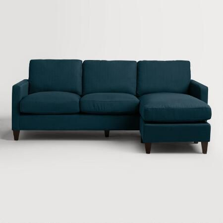 Azure Blue Textured Woven Abbott Sofa | World Market