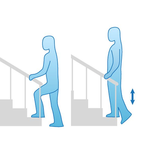 6 easy exercises for knee pain relief-Knee pain relief may be minutes-a-day away. Get strong, flexible, healthy knees with these exercises. (pictured here-stair step-ups)