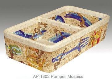 Pompeii Mosaic hand painted double bowl fireclay kitchen sink mediterranean kitchen sinks