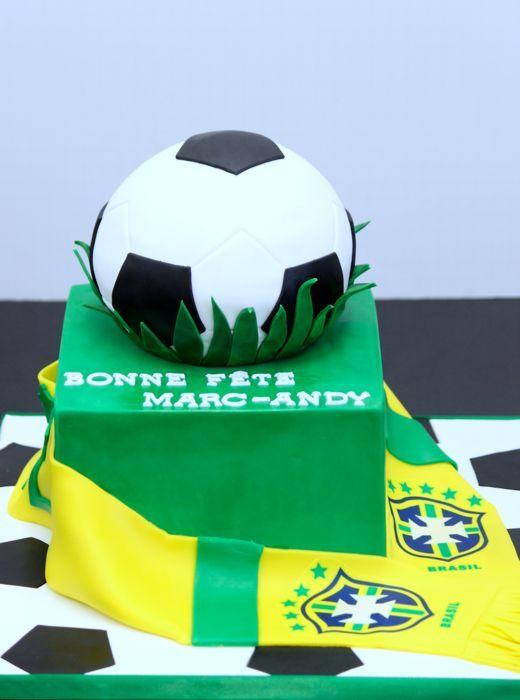 Sports Cakes | Patisserie Tillemont | Montreal - 2-tier Brazil Soccer Fan