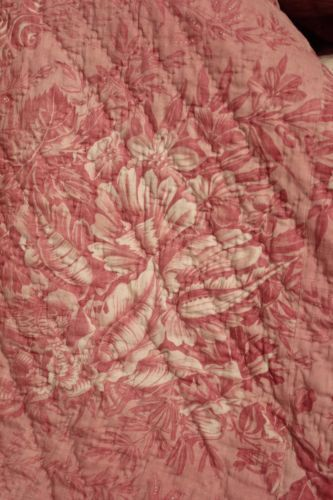 Bed-Cover-Antique-French-toile-de-Alsace-1840-pink-bedding-old-intact-coverlet