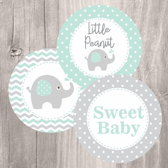 Elephant Centerpieces, Printable Mint And Grey Elephant Baby Shower  Centerpeces, Instant Download, Baby Shower Decoration