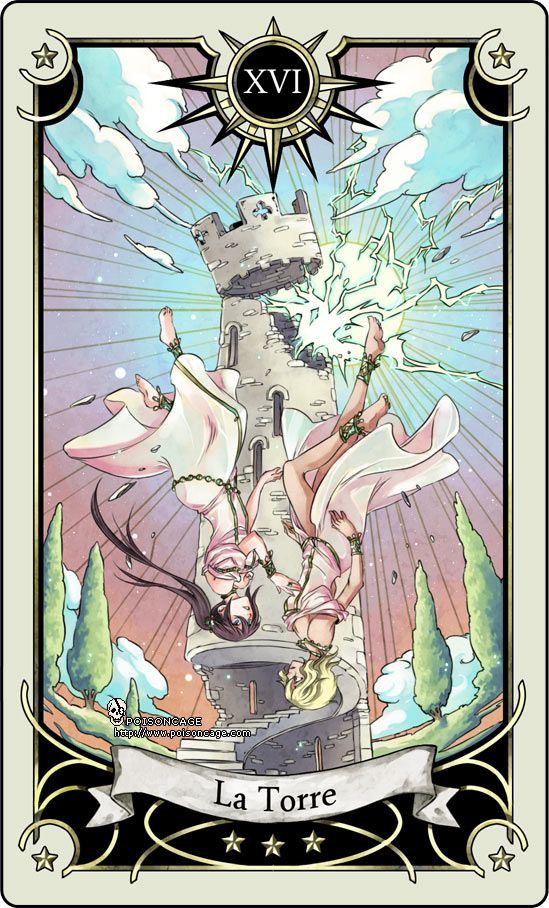 Tarot card 16- the Tower by rann-poisoncage.deviantart.com on @deviantART