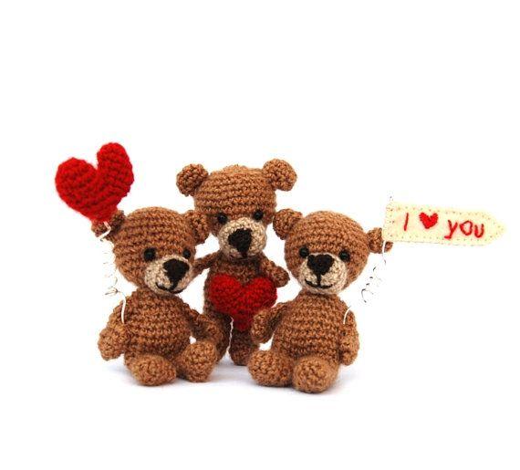 customize love bears amigurumi little bear by tinyworldbycrochAndi, $19.86