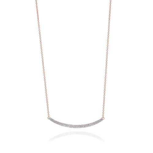 Rose Gold Vermeil Skinny Curve Necklace - Diamond - Monica Vinader