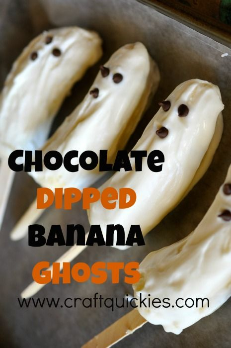 These Chocolate Dipped Banana Ghosts are a fun and spooky Halloween recipe and activity to do with your little ones! They also make the perfect party food!
