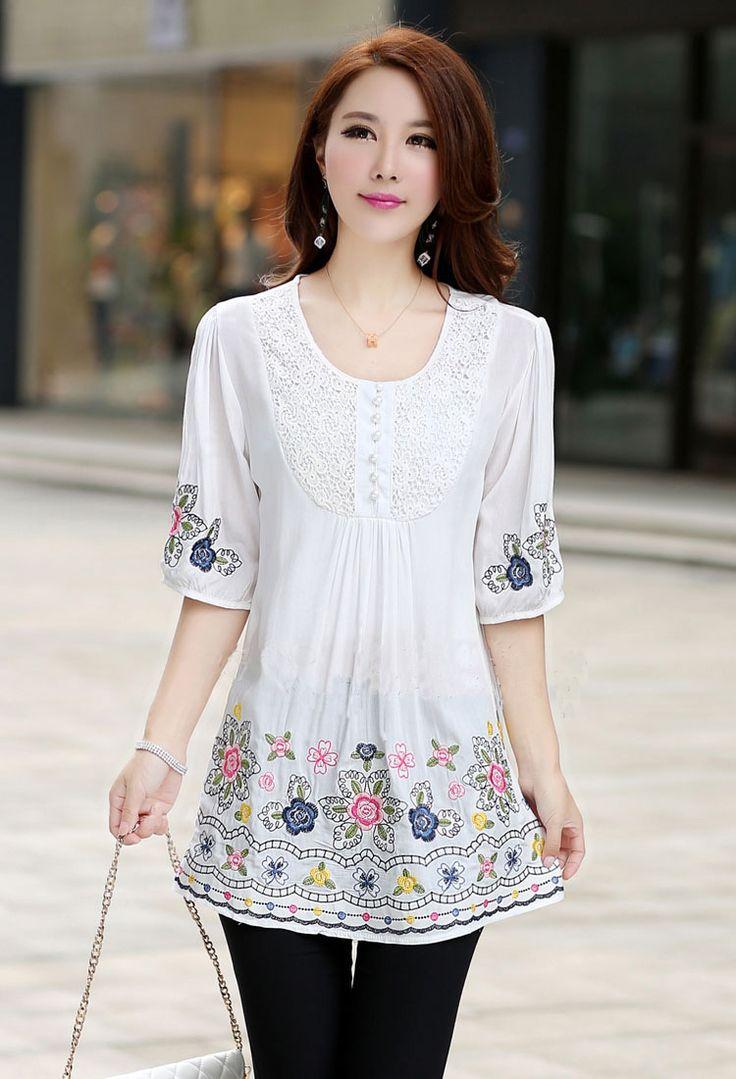 As novas soltos mulheres bordados casuais blusas bonito mulheres plus size t shirt blusas de verão para as mulheres 2014 em Blusas de Roupas e Acessórios Femininos no AliExpress.com | Alibaba Group