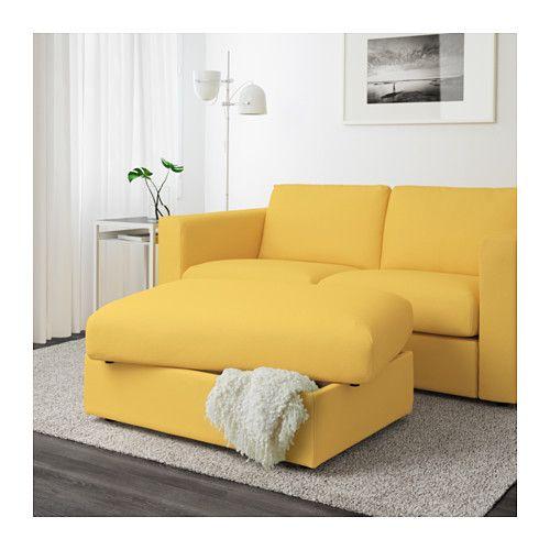 VIMLE Fotskammel med oppbevaring - Orrsta gyllengul - IKEA