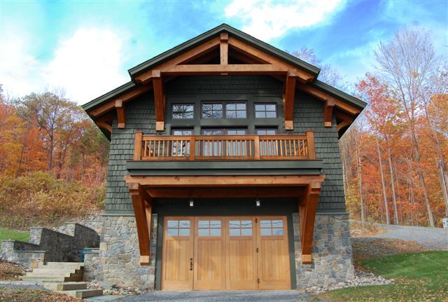 Timber Frame Garage addition with living space | Boat house with living quarters on Canandaigua Lake.