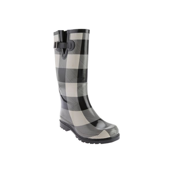 Women's Nomad Puddles Boot - Black/White Checker Casual ($52) ❤ liked on Polyvore featuring shoes, boots, casual, casual shoes, rain boots, black and white checkered boots, wellies boots, wellington boots and rubber boots
