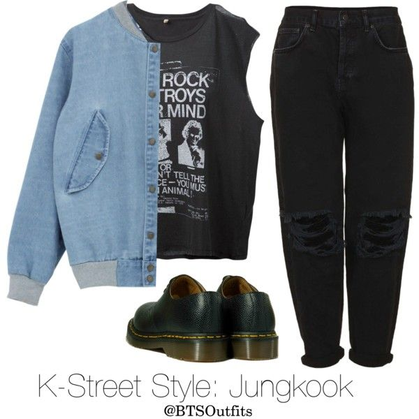 K-Street Style: Jungkook by btsoutfits on Polyvore featuring polyvore, fashion, style, R13, Boutique, Dr. Martens and clothing