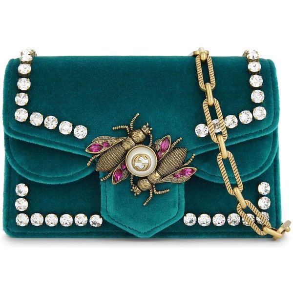 Gucci Insect-clasp small velvet cross-body bag (65 965 UAH) ❤ liked on Polyvore featuring bags, handbags, shoulder bags, blue crossbody handbag, blue handbags, shoulder strap bags, blue purse and gucci