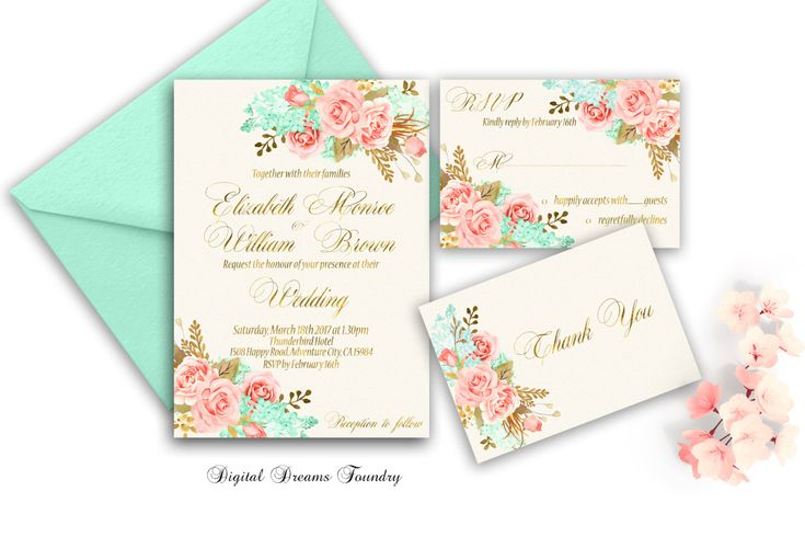 Gold Mint Floral Wedding Invitation Set printable Blush Pink Wedding Invitation Boho Wedding Invitation Spring Wedding Romantic Wedding by DigitalDreamsFoundry on Etsy