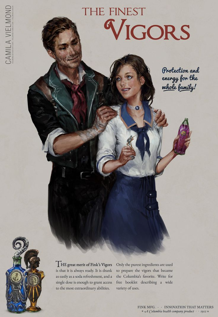 Bioshock Infinite Vigor Poster, Camila Vielmond on ArtStation at https://artstation.com/artwork/bioshock-infinite-vigors-poster