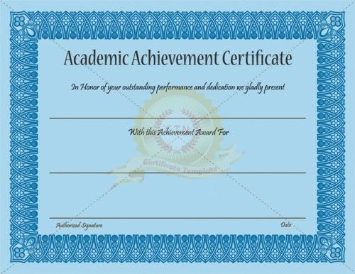 academic achievement certificate template is to honor someone who did really good performance academically with dedication