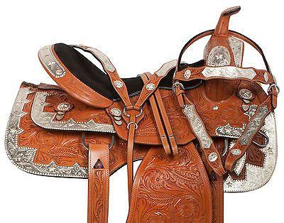 NEW 16 PRO SILVER CHESTNUT WESTERN PLEASURE SHOW LEATHER HORSE SADDLE TACK SET