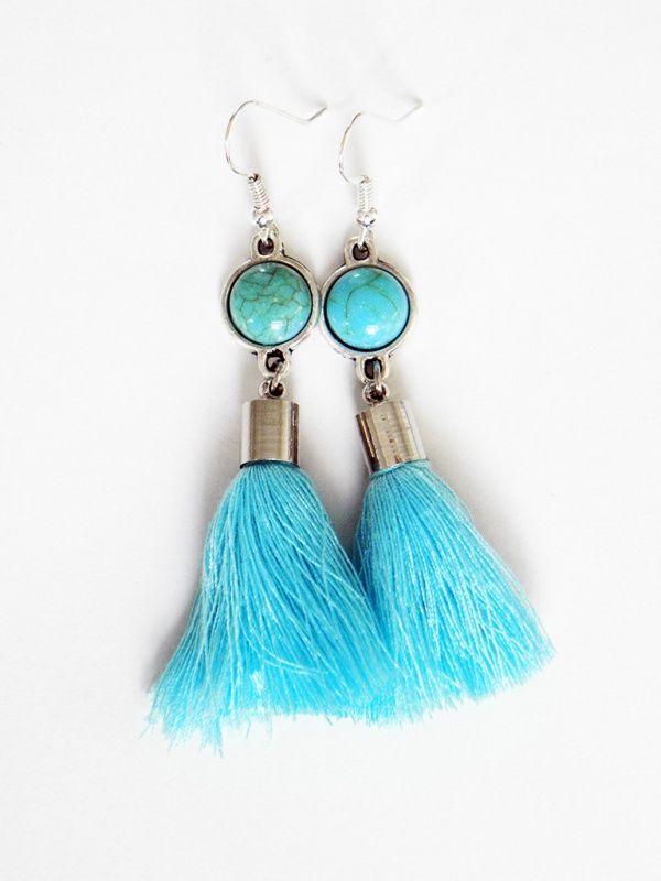 """Oorbellen met kwastje """"Stones & Fringes"""" Turquoise,  fringe, earrings, stone, turquoise, oorbellen, kwastje, ibiza"""