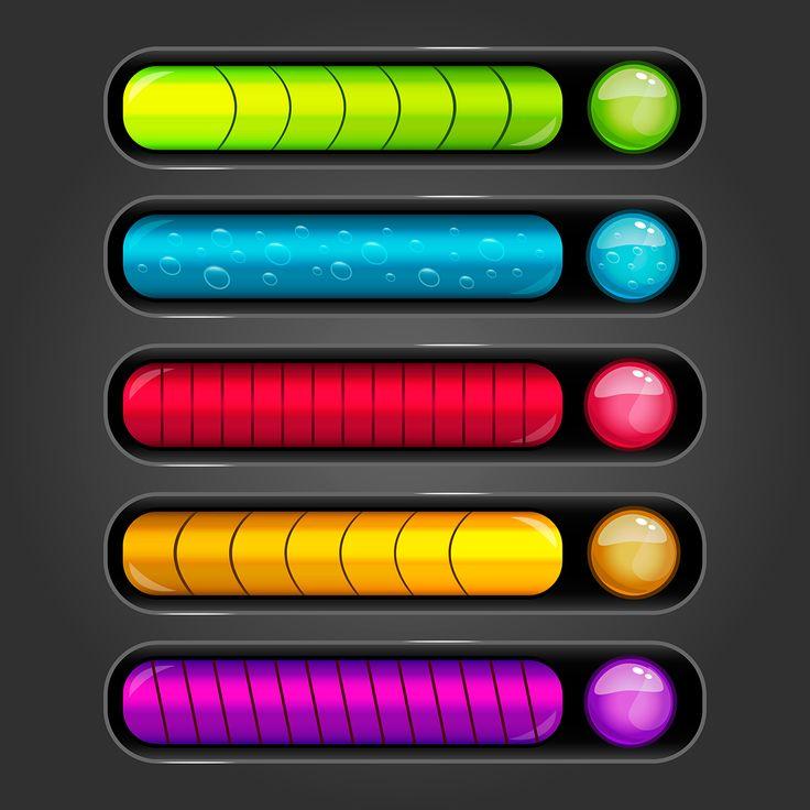 Progress bar set for games on Behance