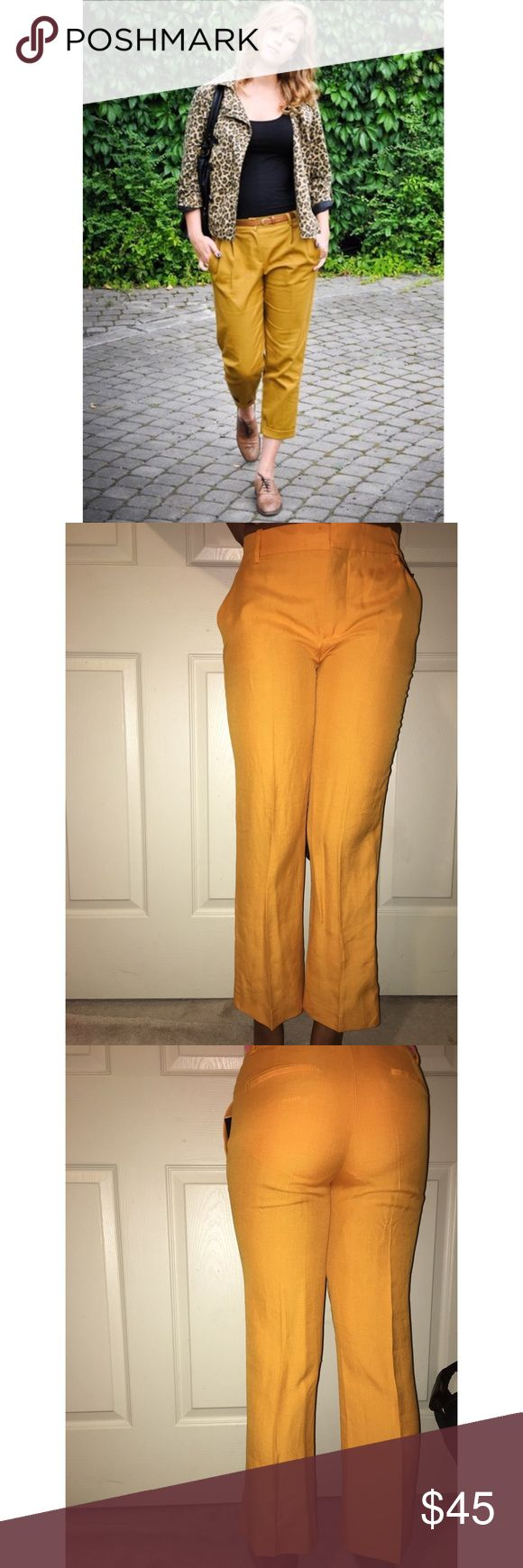 Mustard Yellow Linen Pants Adorable mustard yellow trousers. If you love color, these pants are for you! They hug a woman's curve in all the right places and can be a great staple piece. Your closet needs this. Can't you hear it screaming out to you?! Buy me 😍 Zara Pants Ankle & Cropped
